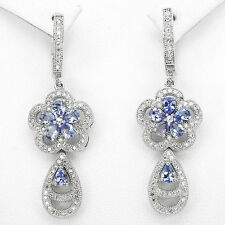 """42 CTS!! RARE!! NATURAL RICH BLUE VIOLET TANZANITE 925 SILVER EARRINGS 1 3/4"""""""