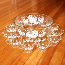 Vintage Glass Punch Bowl Set 11 Cups White Grape Leaves Leaf Pattern Party Set