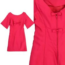 1960's Vintage Twiggy Dress Bell Sleeve Pink Bow Details Cut Out Back XS 2 Prom