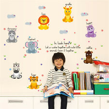 Cartoon Animal English Room Home Decor Removable Wall Stickers Decals Decoration