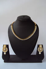 Indian Fashion Pearl Kundan Ethnic Bollywood Designer Necklace Jewelry Set