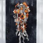 Front Door Hanging Skeleton, Halloween Pumpkin Fall Wreath Decoration Garland