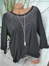 Paola Shirt schwarz mit PaillettenGr 48 weich fallend Übergröße (398)