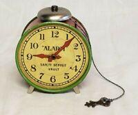 RARE 1930'S J. CHEIN & CO. ALARM CLOCK VAULT COIN BANK & KEY TIN TOY ! NICE !!!!