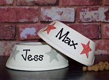 Small slanted dog bowl hand painted personalised ceramic cat bowl dog food bowl
