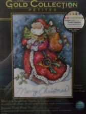 """Cross stitch Kit Gold Collection """" Merry Christmas Santa """"New by Dimensions"""