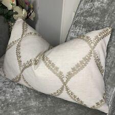 Cushion Cover Designer Fabric Embroidered Design NaturalTaupe Decor Ashley Wilde