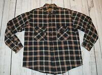 ST JOHNS BAY MENS QUILT LINED FLANNEL PLAID SHIRT LARGE LINED HEAVYWEIGHT BLACK