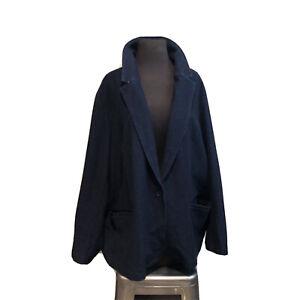 Lands End Womens Blazer Ponte Cotton Knit Plus Sz 3X Jacket Denim Blue