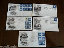 5 Vintage THOMAS JEFFEERSON MEMORIAL 1973  FIRST DAY OF ISSUE POSTAGE STAMPS