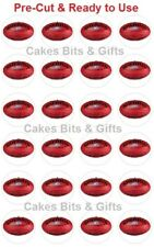 24x AFL FOOTBALLS Edible Wafer Cupcake Toppers PreCut & Ready to Use