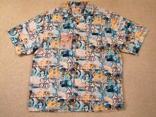 $88 IT'S 5 O'CLOCK SOMEWHERE SILK SS SHIRT - DESIGNED IN MARGARITAVILLE - L -NWT