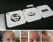 Kids Face Painting SUPERHERO Set of 3pcs Stencils BATMAN SUPERMAN SPIDERMAN