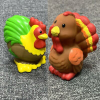 2x Fisher Price Little People Farm Animal TURKEY & Rooster Chicken Toy Doll