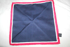 T.M LEWIN RED, WHITE & BLUE SILK POCKET SQUARE /HANDKERCHIEF 13 X 13 IMMACULATE