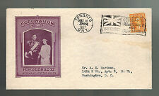 1937 Toronto Canada first day cover Coronation Cachet Fdc Kgvi King george 6 Usa