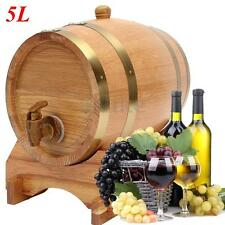 5L Oak Barrel Keg Wine Spirits Whisky Port Liquor Wood French Toasted w/ Stand