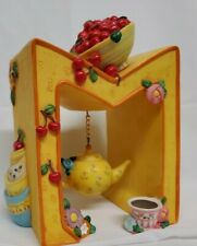 Mary Engelbreit Bookend Yellow Letter M Dangle Teapot Cup Bowl Cherries Flowers