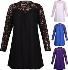 New Ladies Long Sleeve Stretch Floral Lace Panel Gathered Dress Top Plus Size
