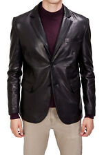 Men's Stylish Genuine Lambskin Real Leather Two Button Blazer Coat MB 20