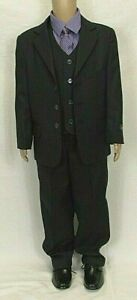 Boys Navy Blue Pinstripe Suit Waistcoat Smart Wedding Page Age 5 - 11 Years