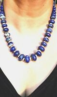 "Genuine Lapis Lazuli Necklace with 14K Gold Clasp Graduated Beads 19"" Beautiful"