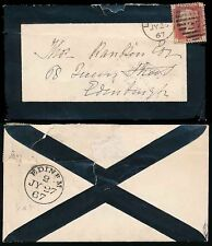SCOTLAND RAILWAY TPO EDINR M code 2 on MOURNING ENVELOPE 1867 PENNY RED Plate 85