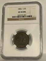 1806 Draped Bust Half Cent NGC XF 45 BN. Evenly worn, problem free.