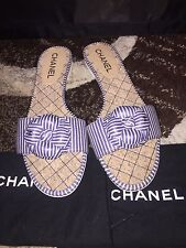 Brand New Authentic Chanel Stripe Satin Camellia Slippers/Sandals Sz 39.5