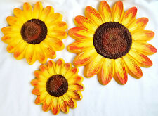 3 Vintage Chalkware Plaster Sun Flower Wall Hanging Decor Plaque Yellow #1