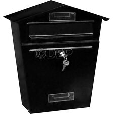 BLACK STEEL POST BOX POSTBOX LOCKABLE LETTER MAIL WALL MOUNTED NEW BY HOME DISCO