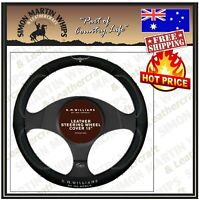 RM Williams Steering Wheel Cover Leather 15 Inch  Black with RM Logo 380mm