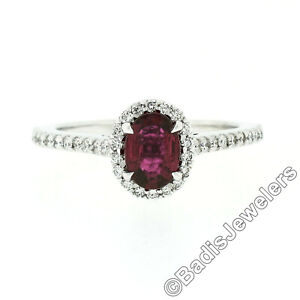 NEW Petite 14k White Gold 1.40ctw Oval Red Ruby & Diamond Halo Engagement Ring