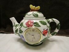 Decorative Teapot with Clock / Flowers and Butterfly