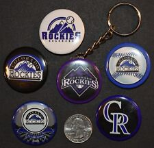 "Set of 5 1 1/2"" Pinback Buttons Colorado ROCKIES + Key Chain Retro Keychain"