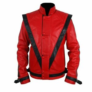 Thriller Mens Real Red Leather Jacket - High Quality