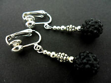 Shamballa Style Clip On Earrings. A Pair Of Dangly Black