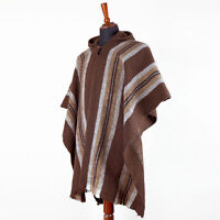 LLAMA WOOL MENS WOMANS UNISEX SOUTH AMERICAN HOODED PONCHO COAT JACKET PULLOVER