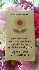 10 Personalised Sunflower Seed Envelopes Wedding Table Guest Favours Rustic