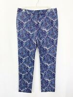 Talbots Pants 8 Paisley Modern Blue Purple Capri Cropped Trousers