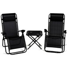 Chaise Lounge Set Of 3 Cushion Patio Chairs Table Recliner Folding Zero Gravity