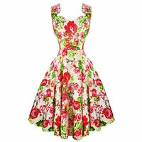 Hearts & Roses London Cream Floral Vintage Retro 1950s Flared Tea Dress