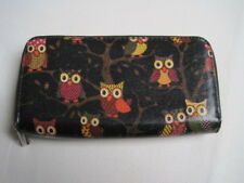 Women's unbranded black faux leather owl print large purse
