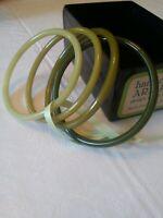 Set of Buch+Deichmann B+D Vintage Plastic Nylon Bangles by Ketty Dalsgaard Green