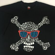 Vintage Stussy T-Shirt Mens XL XLarge Black Skull Crossbones Sunglasses Spellout
