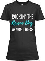 Rocking The Rescue Dog Mom Life Funny Adopt Gift - Gildan Women's Tee T-Shirt