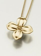 Gold Vermeil Dogwood Blossom Memorial Jewelry Pendant Funeral Cremation Urn