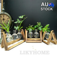 AU Wooden Stand Hanging Glass Terrarium Container Hydroponics Pot Vase Decor