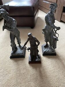 3 Bronze Spelter Sculpture One Signed By E Picault