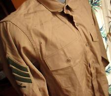 MEDIUM True Vtg 70S Army Poplin Khaki Tan MARINES Uniform Shirt LS W Stripes